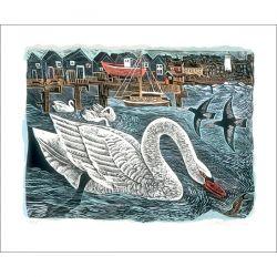 Angela Harding Southwold Swan Greetings Card AH3025