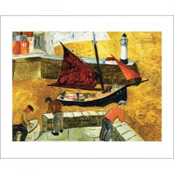 Mousehole Cornwall by Christopher Wood Greetings Card WD3038